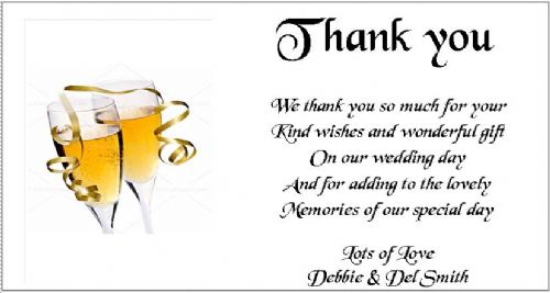 Thank You Gift Cards Wedding Personalised -  Champagne Glasses design x 10
